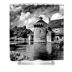 Scotney Castle In Mono Shower Curtain