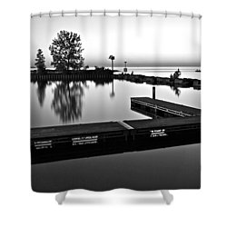 Black And White Sunset Shower Curtain by Frozen in Time Fine Art Photography
