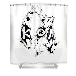 Black And White Trio Of Koi Shower Curtain by Gordon Lavender