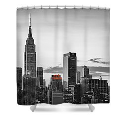 Black And White Version Of The New York City Skyline With Empire Shower Curtain