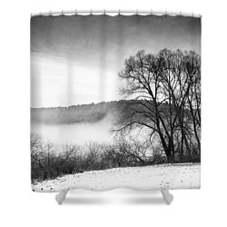 Black And White Winter Landscape With Trees Shower Curtain by Matthias Hauser