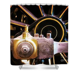 Black And Yellow Loco Wheel Shower Curtain by Joseph J Stevens