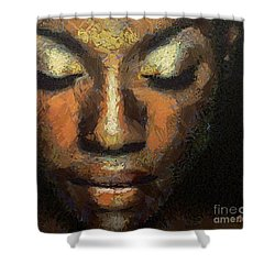 Shower Curtain featuring the painting Black Beauty by Dragica  Micki Fortuna