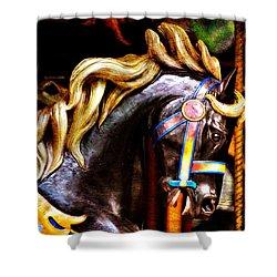 Black Carousel Horse Shower Curtain