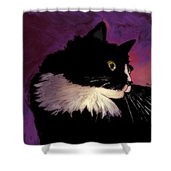 Black Cat On Purple Shower Curtain