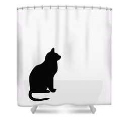 Black Cat Silhouette On A White Background Shower Curtain by Barbara Griffin