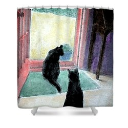 Black Cats Shower Curtain by Art by Kar