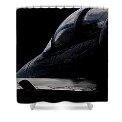 Black Cockpit Shower Curtain by Paul Job