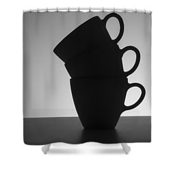 Black Coffee Cups Shower Curtain