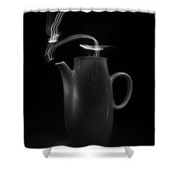 Black Coffee Pot - Light Painting Shower Curtain by Steven Milner