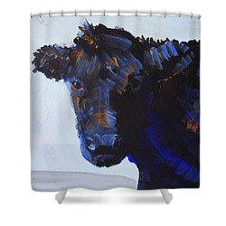 Black Cow Head Shower Curtain
