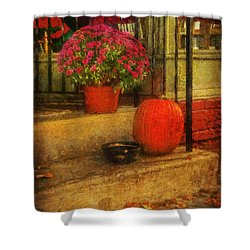 Black Dog Coffee And Catering Shower Curtain by Lois Bryan