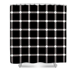 Shower Curtain featuring the digital art Black Dot Illusion by Nick Kloepping