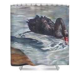 Shower Curtain featuring the painting Black Elegance by Lori Brackett