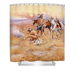 Black Feet Burning The Buffalo Range Shower Curtain by Charles Russell