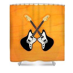 Black Fender Jaguar  Guitar Shower Curtain by Doron Mafdoos