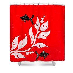 Black Fish Left Shower Curtain