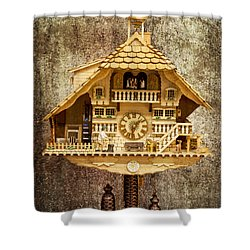 Black Forest Figurine Clock Shower Curtain by Heiko Koehrer-Wagner