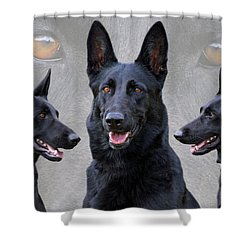 Black German Shepherd Dog Collage Shower Curtain by Sandy Keeton