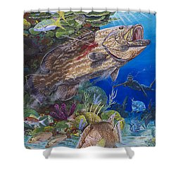 Black Grouper Hole Shower Curtain by Carey Chen