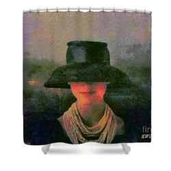 Shower Curtain featuring the painting Black Hat by Elizabeth Coats