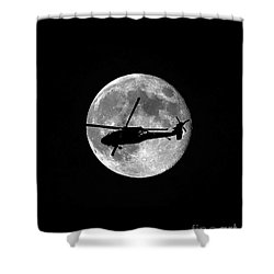 Black Hawk Moon Vertical Shower Curtain