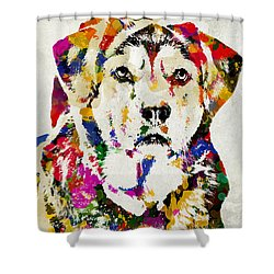 Black Lab Watercolor Art Shower Curtain by Christina Rollo