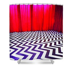 Black Lodge Blues Shower Curtain