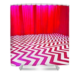Black Lodge Magenta Shower Curtain