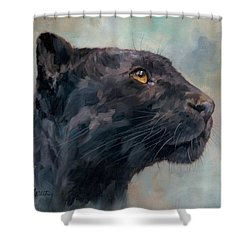 Black Panther Shower Curtain by David Stribbling