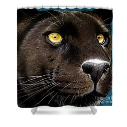 Black Panther Shower Curtain by Jurek Zamoyski