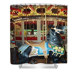 Shower Curtain featuring the photograph Black Pony by Barbara McDevitt