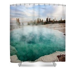 Black Pool At Dusk Shower Curtain