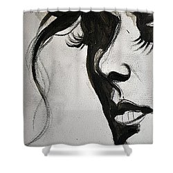 Black Portrait 16 Shower Curtain