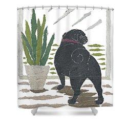 Black Pug Art Hand-torn Newspaper Collage Art Shower Curtain by Keiko Suzuki Bless Hue