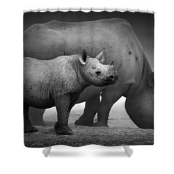 Black Rhinoceros Baby And Cow Shower Curtain by Johan Swanepoel