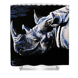 Black Rino Shower Curtain by Viktor Lazarev