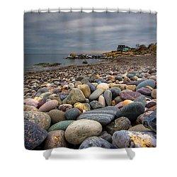 Black Rock Beach Shower Curtain