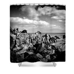 Black Rocks 3 Shower Curtain