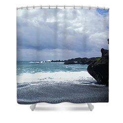Black Sand Beach Maui Shower Curtain