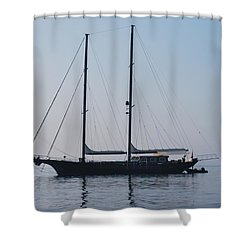 Black Ship 1 Shower Curtain