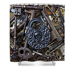 Black Skull And Bones Lock Shower Curtain by Garry Gay