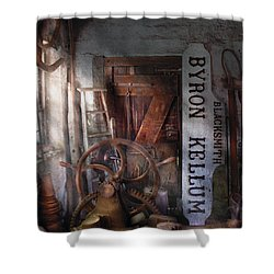 Black Smith - Byron Kellum Blacksmith Shower Curtain by Mike Savad