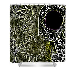Black Sunflower Skull Shower Curtain by Lovejoy Creations