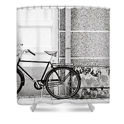 Black Vintage Bicycle Shower Curtain by Jimmy Karlsson