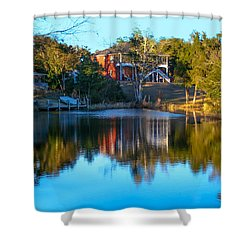 Black Water River In Blue Shower Curtain