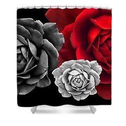 Black White Red Roses Abstract Shower Curtain