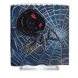 Black Widow Shower Curtain by Debbie LaFrance