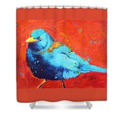Shower Curtain featuring the painting Blackbird I by Nancy Jolley