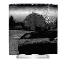 Blackbird In Tree Under Purple Night Sky Shower Curtain